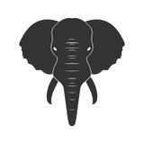 Black Elephant in flat  on white background. Vector illustration Royalty Free Stock Image