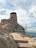 Black Elk Peak [formerly known as Harney Peak] Fire Lookout Tower in Custer State Park in the Black Hills of South Dakota USA. Black Elk Peak f[ormerly known as royalty free stock images