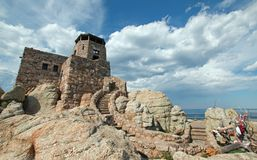 Black Elk Peak [formerly known as Harney Peak] Fire Lookout Tower in Custer State Park in the Black Hills of South Dakota USA stock image