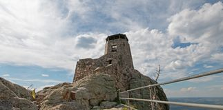 Black Elk Peak [formerly known as Harney Peak] Fire Lookout Tower in Custer State Park in the Black Hills of South Dakota USA. Black Elk Peak formerly known as royalty free stock photography