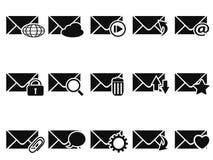 Black email icon set Stock Photos