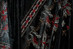 Black embroidered velvet Stock Photography