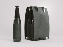 Black empty beer packaging mockup. 3d rendering Royalty Free Stock Photography