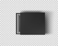 Black empty box mock up on transparent background. Top view. Template for your presentation design, banner, brochure or stock illustration