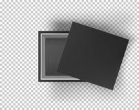 Black empty box mock up on transparent background. Top view. Template for your presentation design, banner, brochure or vector illustration