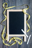 Black empty chalkboard for copy, healthy eating dieting concept, vertical Royalty Free Stock Photography