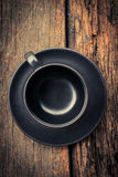 Black empty cup of coffee  Royalty Free Stock Photography