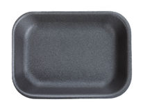 Black empty food tray. Isolated on white background Stock Images