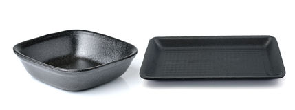 Black empty food tray on white background Stock Photography