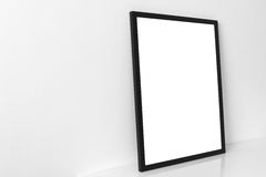 Black empty frame with shadow. In natural light on reflective surface Royalty Free Stock Photo