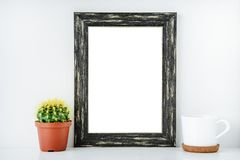 Black empty frame with white isolated background. stock image