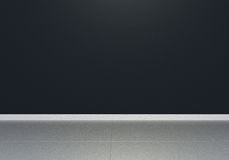 Black empty interior room, front view, glossy floor Stock Photography