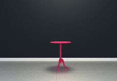 black empty interior room, front view, glossy floor and pink table Royalty Free Stock Images