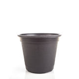 Black empty plastic bucket for seedlings isolated white Royalty Free Stock Photos