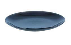 Black Empty plate. Isolated on a white background Clipping Path Stock Images
