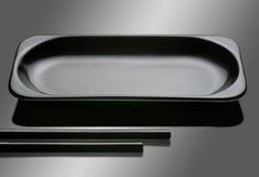 Black empty plate Stock Photo