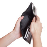 Black empty purse. On a white background Royalty Free Stock Photo