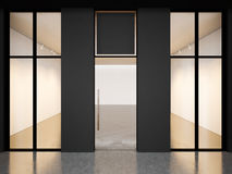 Black empty room of contemporary gallery with Stock Images