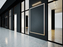 Black empty rooms in contemporary gallery with. Empty rooms in contemporary gallery with blank frames. Horizontal Stock Image