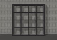 Black empty square bookshelf on grey brick wall background. Black empty bookshelf composed of sixteen boxes on grey brick wall background Royalty Free Illustration