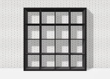 Black empty square bookshelf on white brick wall background. Black empty bookshelf composed of sixteen boxes on white brick wall background Royalty Free Illustration