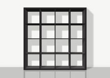 Black empty square bookshelf on white wall background. Black empty bookshelf composed of sixteen boxes on white wall background Royalty Free Illustration