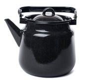 Black enameled teapot. Close-up kettle isolated on white background Stock Photography