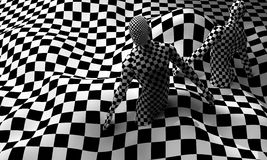 Black end White checkered man Royalty Free Stock Images