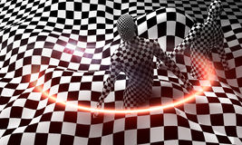 Black end White checkered man Stock Photos