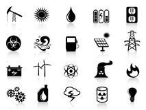 Black energy icons set Stock Photo