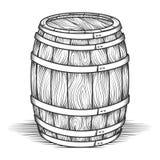 Black engraved vintage barrel. Engraving barrel. Black engraved vintage barrel with wood texture, oak old style cask vector illustration royalty free illustration