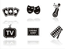 Black entertainment icons Stock Image