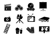 Black Entertainment Icons. Entertainment icons for media, cinema, movie, film Royalty Free Stock Photography
