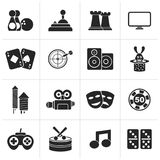 Black entertainment objects icons. Vector icon set Stock Image