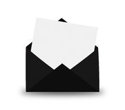 Black Envelope with letter. Royalty Free Stock Images