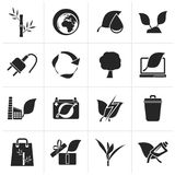 Black Environment and Conservation icons. Vector icon set Stock Images