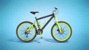 Black 29er mountain bike on blue background. Black 29er mountain bike on blue Royalty Free Stock Photo