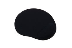 Black ergonomic mouse pad isolated on a white background.  royalty free stock image