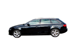 Black car family estate Audi A4 isolated Royalty Free Stock Photos