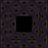 Black ethnic frame ornament with colored triangles.  Stock Image