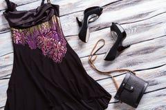 Black evening dress. Royalty Free Stock Image
