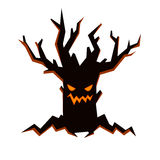 Black evil tree with scary smiling face, fire inside and bare branches. Halloween character in flat style. Halloween character black evil tree in flat style Royalty Free Stock Images