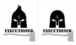 Black executioner. Executioner head and axe icon over the white background Royalty Free Stock Photography