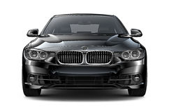 Black executive car - front view Royalty Free Stock Images