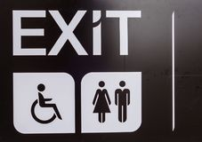 Black exit , Handicap, toilet sign , Disabled sign.  Royalty Free Stock Photo