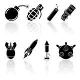 Black explosive icons. Set of black explosive icons, illustration Stock Photos