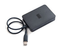 Black external hard disk drive. With USB cable Stock Photography