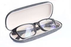 Black Eye Glasses. In case on white background Royalty Free Stock Photos