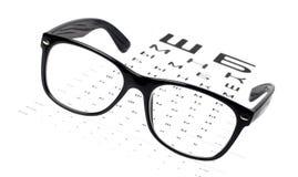 Reading glasses on eye chart Stock Images