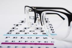 Black eye glasses and focus exam test. Black eye glasses on white background royalty free stock photos
